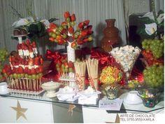 mesa de frutas com chocolate - Pesquisa Google
