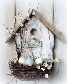 spring decoration tinker with natural materials wood-birdhouse-bird nest branches -.- spring decoration tinker with natural materials wood-birdhouse-bird nest-branches-easter eggs Spring Crafts, Holiday Crafts, Wood Crafts, Diy And Crafts, Primitive Crafts, Cardboard Crafts, Fabric Crafts, Diy Y Manualidades, Easter Wreaths