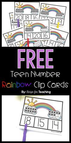 Teen Number Rainbow Clip Cards - Everything About Kindergarten Teaching Numbers, Numbers Kindergarten, Kindergarten Centers, Kindergarten Math Worksheets, Math Numbers, Preschool Math, Math Classroom, Teaching Math, Math Math