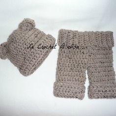Ensemble bebe ourson bonnet ourson + pantalon  ideal seances photos bebe  accessoires phtos bebes