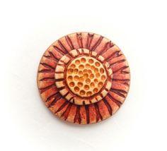 Boho Sunburst Blossom Polymer Clay Pendant by Distlefunk2