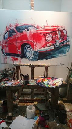 Werk van Johan Martinus en Bertus Lucassen. Mechanical Workshop, Automotive Art, Cool Cartoons, Volvo, Cars And Motorcycles, Roads, Transportation, Painting, Beauty