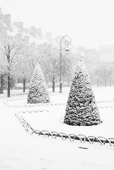 paris, place des vosges in snow