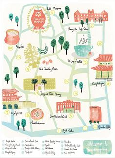 My favorite neighborhood // Samcheongdong Map illustration, map,South Korea Draw Map, Map Design, Graphic Design, Design Innovation, Map Projects, Montezuma, Watercolor Map, Travel Illustration, City Maps