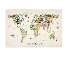 Animal Map of the World Photographic Print by Michael Tompsett at Art.com