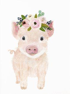 Baby Room Art, Baby Wall Art, Baby Animal Drawings, Cute Drawings, Watercolor Animals, Watercolor Art, Pig Wallpaper, Tout Rose, Pig Illustration