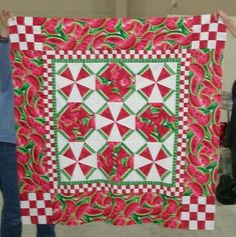 Watermelon quilt made by Barbara at Anna Lena Land quilt retreat