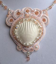 French Mermaid Collection        : Shellina Hand-Embroidered Soutache Necklace