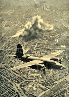 Yank Magazine May 7, 1944 photo of B-26 over Florence after bombing raid of March 11 on train rail yards