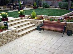retaining wall, landscaping, idea, garden, image