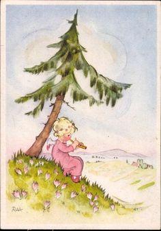 Flötenspiel | 7 alte Ansichtskarten Artist Charlotte Baron, Kinder, | akpool.co.uk