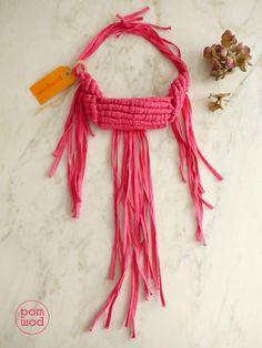 pink macrame necklace by pompom, available on Etsy, store pompomfromflorence. Enjoy it!!!