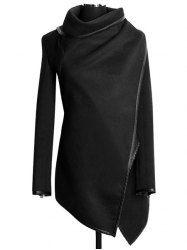 Stylish Turtle Neck Long Sleeve Asymmetrical Coat For Women (BLACK,2XL) | Sammydress.com Mobile