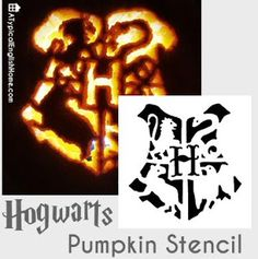 A Typical English Home: Harry Potter Hogwarts Pumpkin Stencil Harry Potter Props, Harry Potter Halloween, Harry Potter Love, Harry Potter Hogwarts, Harry Potter Pumpkin Carving, Pumkin Carving, Halloween Pumpkins, Halloween Crafts, Halloween Decorations