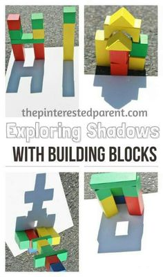 Fantastic STEAM activity for science: Exploring shadow & light with building blocks. This is a wonderful spring or summer activity that you can do with your kids while exploring shadow & light outdoors Science Activities, Summer Activities, Preschool Activities, Outdoor Activities For Preschoolers, Preschool Groundhog, Science Centers, Indoor Activities, Science Education, Outdoor Education