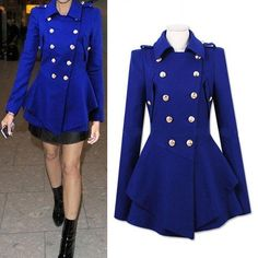 2 Colors Double-Breasted Cocktail Coat - CLOTHING