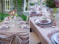interesting lavender with pewter grey tables