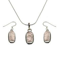 Parure Collier Boucles d'oreilles en Argent - Quartz rose: ShalinCraft: Amazon.fr: Bijoux