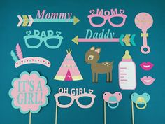✦ Tribal Themed Girl Baby Shower Photo Booth Props - Girl Baby Shower Photo…