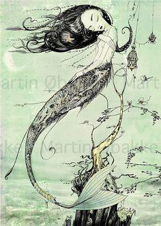 Meerjungfrau Print - Steampunk-WALL Art Print - nautische Giclée Fantasy-Kunstdruck - grün - Wasser - Ocean - Märchen Kunst durch das filigrane auf Etsy, 5,95€