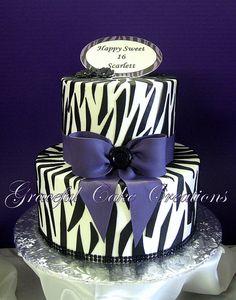 Zebra Print Sweet 16 Birthday Cake