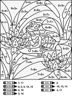 Other Graphical Works: Mystery Math Picture for Children's to Answer Guess and Color Math Coloring Worksheets, School Worksheets, Kindergarten Worksheets, Math Activities, Number Worksheets, Math For Kids, Fun Math, Math Sheets, Color By Numbers