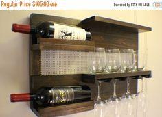 ON SALE Kona and Chrome Wall Mounted Wine Rack by TheKnottyShelf