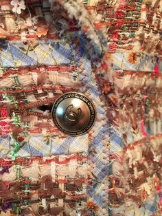 CHANEL BLAZER JACKET COAT MULTI-COLOR TWEED JACKET Clover Sequence SZ 40