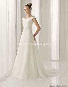 A-line floor length satin bridal gown with beading