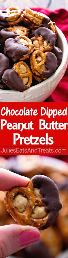 Chocolate Dipped Peanut Butter Pretzels ~ Delicious peanut butter stuffed between two pretzels and dipped in chocolate! ~ https://www.julieseatsandtreats.com
