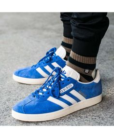 reputable site 60c9a bca04 Adidas Gazelle Mens Trainers In Super Blue Grey Trainers, Mens Trainers, Adidas  Gazelle Mens