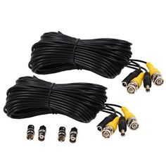 VideoSecu 2 Pack 100ft feet Video Power Cables BNC RCA Security Camera Extension Wires Cords for CCTV DVR Home Surveillance System with bonus Adapters 1Q7 by VideoSecu. $24.99. Use with Closed Circuit Television (CCTV) applications and security camera components. This pre-terminated CCTV cable is perfect for transmitting video and power. Simplify the installation of surveillance systems by using one cable to carry video and power. Now, it's easier than ever to ...