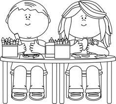 Black and White Kids in Art Class Clip Art Black and White Kids in Art Class Image Coloring pages Clipart black and white Clip art