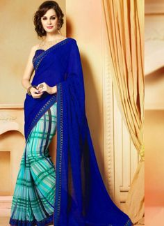 Magestic Printed Blue Georgette Saree