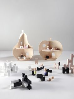 Rock & Pebble wooden toys! Apple and pear dollhouses + mini furniture and H Blocks