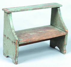 Miniature Blue Painted Softwood Bucket Bench, two