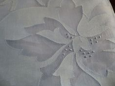 "Vintage Madeira Organdy Linen Banquet Tablecloth Blue Floral Applique 68""x 136"""