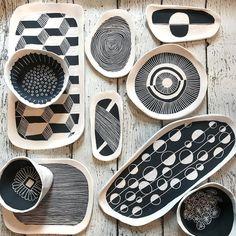 minimalist black and white ceramic art, hand painted art, handmade ceramics Pottery Plates, Ceramic Pottery, Pottery Art, Painted Pottery, Slab Pottery, Thrown Pottery, Pottery Studio, Pottery Painting Designs, Pottery Designs