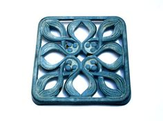Antique French enamelled cast iron trivet, Light blue color, Square shaped, French country, Dining table utensil, Vintage 1930s