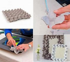 DIY : make pretty flower mirror decoration with egg cartons