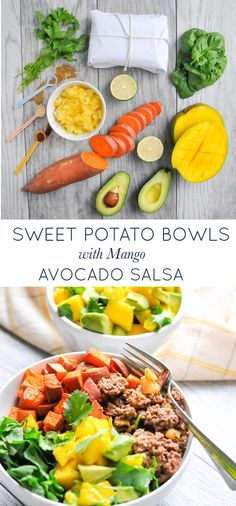Pineapple Beef Bowls with Mango Avocado Salsa. A quick, easy, healthy real food recipe. Naturally gluten-free, dairy-free, paleo and Whole30 friendly!