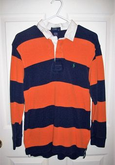 814d50a8549 ... shop vintage boys navy orange striped rugby shirt polo by ralph lauren  only 6 usd by
