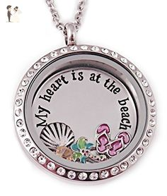My Heart Is At The Beach - Floating Charm Locket - Personalized Jewelry - Wedding nacklaces (*Amazon Partner-Link)