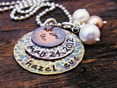 Baby name baby date baby feet jewelry by OrganicRustCreation, $47.50