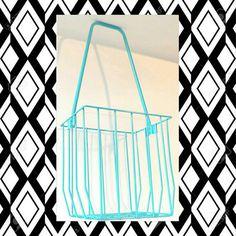 Wrought Iron Bin Wire Basket Metal Golf Caddy Shoe Storage Aqua Turquoise Vintage Bins Bathroom Man Cave Den Sports Room Boys Bedroom