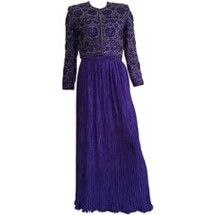 Preowned Mary Mcfadden Couture For Saks 80s Gown Size 6. ($250) ❤ liked on Polyvore featuring dresses, gowns, delphos gowns, purple, long purple skirt, long evening dresses, long pleated skirt, long blue skirt and long skirts