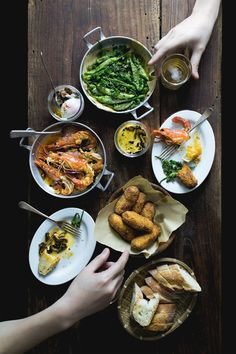 How to Throw a Tapas Party: Croquettes; Hot Spring Egg with Caramelized Mushrooms & Sriracha Béarnaise Sauce; Gambas al Ajillo; Fried Green Chili with Herbs. Other ideas via the link!