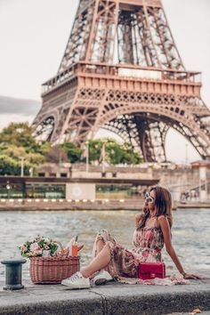 Parisian picnic with a view of Eiffel Tower - wearing a floral midi Zimmermann dress, Dior white low top sneakers, and a red Chanel flap bag - a day in Paris Paris Photography, Travel Photography, Viva Luxury, Beautiful Paris, Triomphe, Europe, Paris Photos, Roadtrip, Paris Travel