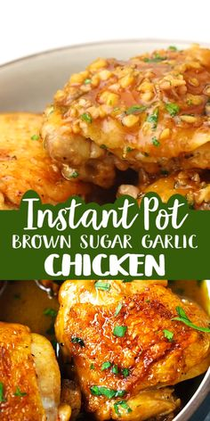 Juicy and fall-off-the-bone chicken thighs with brown sugar garlic sauce, pressure cooked in an Instant Pot for 8 mins. Instant Pot chicken dinner is easy! Instant Pot Chicken Thighs Recipe, Best Instant Pot Recipe, Instant Recipes, Instant Pot Dinner Recipes, Recipes With Chicken Thighs, Yummy Recipes For Dinner, Chicken Thighs In Oven, Healthy Chicken Thigh Recipes, Instant Pot Chinese Recipes