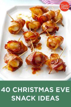 40 Christmas Eve Snack Ideas Holiday Snacks, Christmas Party Food, Christmas Appetizers, Christmas Cooking, Holiday Recipes, Christmas Sweets, Christmas Meal Ideas, Christmas Entrees, Christmas Nibbles